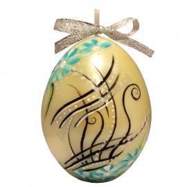 Świeca Jajko Wielkanocne duże, satyna, ręcznie malowane