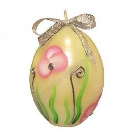 Świeca Jajko Wielkanocne satyna, ręcznie malowane, 5 kolorów