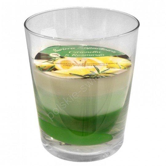 Świeca w szkle trikolor 79/94 Citronella-rozmaryn antykomar.