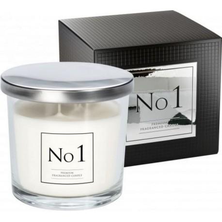"""Świeca zapachowa w szkle """"No 1"""" z dwoma knotami"""