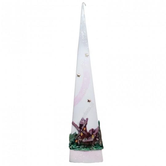 Świeca piramida świąteczna 60 cm ! biała