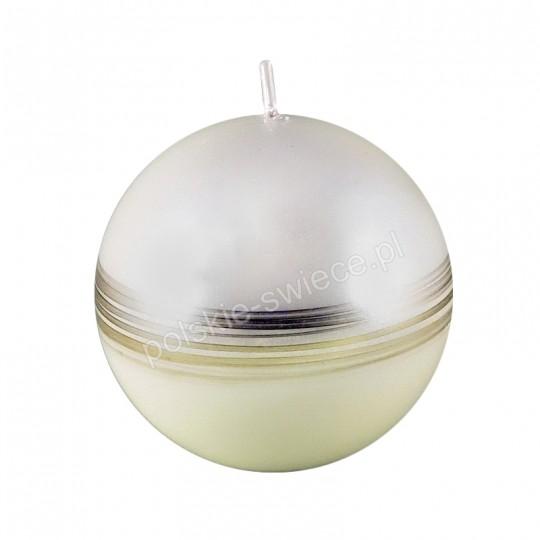 Świeca malowana kula 80 pasek przecierany złoty perłowa