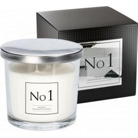 """Ekskluzywna świeca zapachowa w szkle """"No 1"""" z dwoma knotami AGAR-BÓB TONKA-WANILIA"""