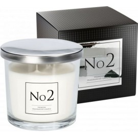 """Ekskluzywna świeca zapachowa w szkle """"No 2"""" z dwoma knotami PACZULA-BURSZTYN"""