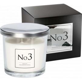 """Ekskluzywna świeca zapachowa w szkle """"No 3"""" z dwoma knotami PIWONIA- SUBTELNY AKCENT PIŻMA"""