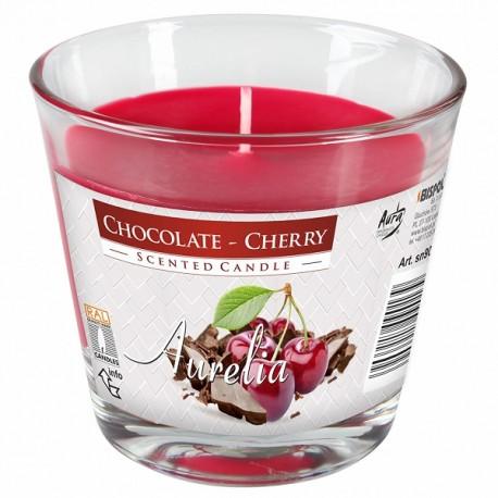 Duża świeca w szkle czekolada-wiśnia