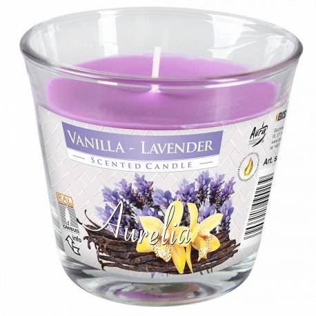 Duża świeca w szkle wanilia-lawenda