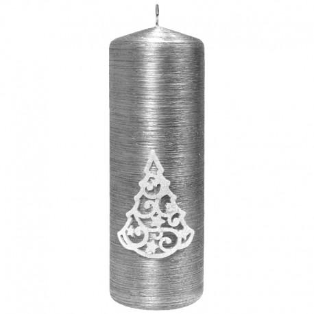 Świeca walec srebrny z aplikacją CHOINKA