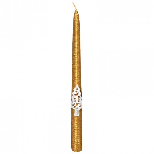 Świeca świąteczna stożek złoty 24/300 z aplikacją choinka