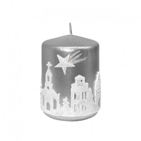 Świeca świąteczna walec CICHA NOC srebrna, rozmiary