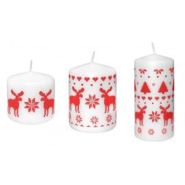 Świeca świąteczna walec NORDIC, rozmiary