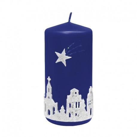 Świeca świąteczna walec CICHA NOC granatowa, rozmiary