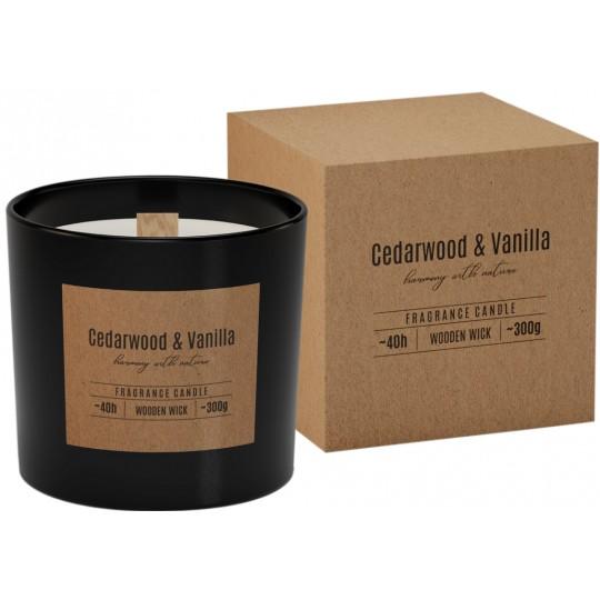 Świeca zapachowa z drewnianym knotem CEDR- WANILIA