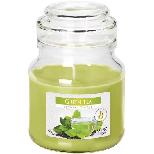 """Świeca w szkle z wieczkiem """" Zielona herbata """""""