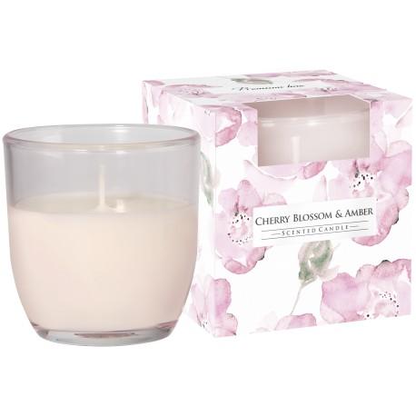 """Świeca zapachowa w szkle pastelowym """" Kwiat wiśni-bursztyn"""""""
