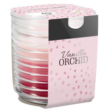 Świeca w prążkowanym szkle tricolor, zapach WANILIA- ORCHIDEA