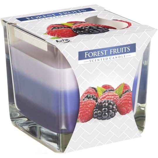 """Świeca zapachowa trójkolorowa w szkle """"Leśne owoce"""""""