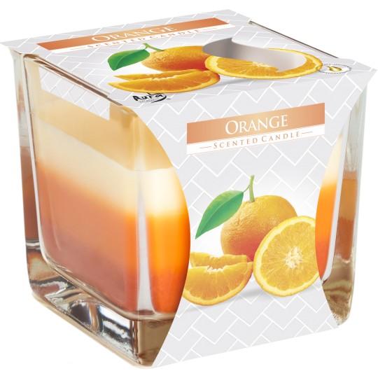 """Świeca zapachowa trójkolorowa w szkle """"Pomarańcza"""""""
