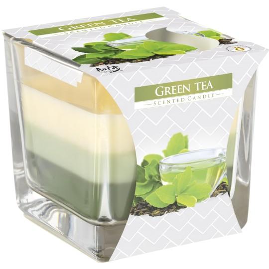 """Świeca zapachowa trójkolorowa w szkle """"Zielona Herbata"""""""